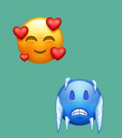 lächelnder Smiley  mit 3 Herzen & kalter Smiley
