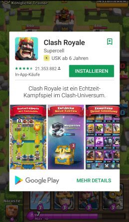 Clash Royale als Google Play Instant