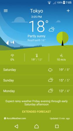 screenshot aus der Xperia Wetter App